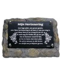 Marmer gedenksteen laatste groet mijn herinnering - Memoriam - overleden - spiegelplaatje - voor binnen en buiten - spiegel tekst Mijn Herinnering ....