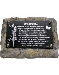 Marmer gedenksteen laatste groet Waarom - Memoriam - overleden - spiegelplaatje - voor binnen en buiten - spiegel tekst Waarom ....