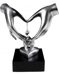 New Dutch - Hart handen met diamant - beeld - liefde - trouwerij - houden van - 21cm