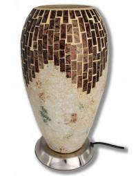 New Dutch - mozaïek glazen lamp - staand - 220 volt - crème/bruin 27 cm
