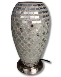 New Dutch - mozaïek glazen lamp - staand - 220 volt - zilver 27 cm