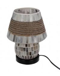 New Dutch - mozaïek glazen lamp met kap - staand - 220 volt - zilver/bruin - 20 cm