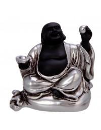 New Dutch Boeddha geluk en voorspoed - Gezondheid - polystone - zwart/zilver - 8cm