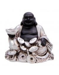New Dutch Boeddha geluk en voorspoed - Rijkdom - polystone - zwart/zilver - 8cm