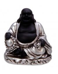 New Dutch Boeddha geluk en voorspoed - Rust - polystone - zwart/zilver - 8cm