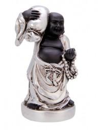 New Dutch Boeddha geluk en voorspoed - Succes - polystone - zwart/zilver - 8cm