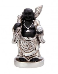 New Dutch Boeddha geluk en voorspoed - Veilige Reizen - polystone - zwart/zilver - 8cm