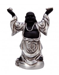New Dutch Boeddha geluk en voorspoed - Voorspoed - polystone - zwart/zilver - 8cm
