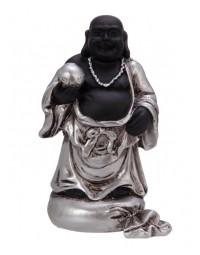 New Dutch Boeddha geluk en voorspoed - Wijsheid - polystone - zwart/zilver - 8cm