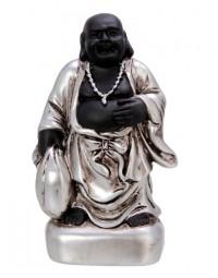 New Dutch Boeddha geluk en voorspoed - zelfvertrouwen - polystone - zwart/zilver - 8cm