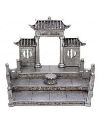 New Dutch verzameldisplay tempel - Boeddha geluk en voorspoed - polystone - 28 x 26 x 22 cm - zwart/zilver