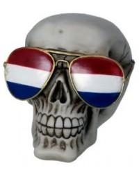 Schedel met een Nederlandse vlag zonnebril beeld (groot 13.5 cm)