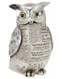 Uil - beeld - oud papier - 25 cm