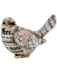 Vogel - beeld - oud papier - 23 cm