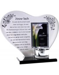 Waxinehouder in memoriam overleden glas hart met gedicht Jouw Lach...