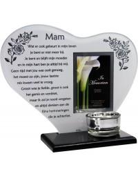 Waxinehouder in memoriam overleden glas hart met gedicht Mam ...