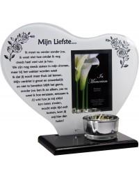 Waxinehouder in memoriam overleden glas hart met gedicht Mijn Liefste ...