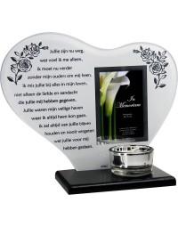 Waxinehouder in memoriam overleden glas hart met gedicht Ouders ...