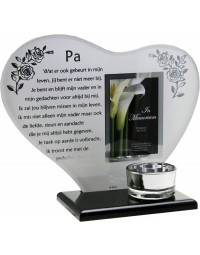 Waxinehouder in memoriam overleden glas hart met gedicht Pa ...