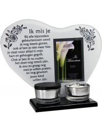 Waxinehouder in memoriam overleden glas hart met mini urn gedicht Ik mis je...