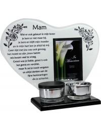 Waxinehouder in memoriam overleden glas hart met mini urn gedicht Mam...